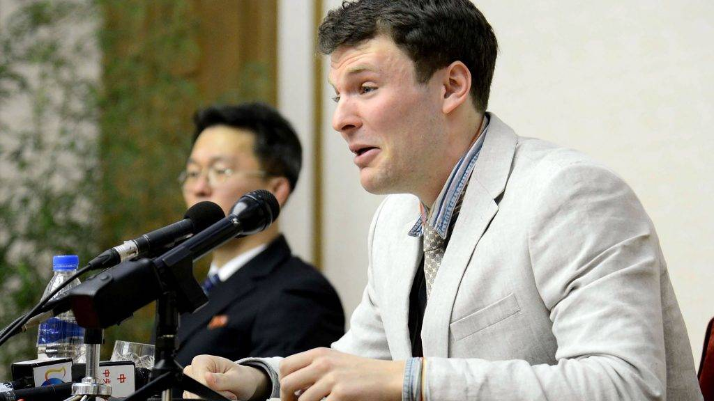 "(FILES) This file photo taken on February 29, 2016 and released by North Korea's official Korean Central News Agency (KCNA) on March 1, 2016 shows US student Otto Frederick Warmbier, who was arrested for committing hostile acts against North Korea, speaking at a press conference in Pyongyang.   REPUBLIC OF KOREA OUT AFP PHOTO / KCNA via KNSTHIS PICTURE WAS MADE AVAILABLE BY A THIRD PARTY. AFP CAN NOT INDEPENDENTLY VERIFY THE AUTHENTICITY, LOCATION, DATE AND CONTENT OF THIS IMAGE. THIS PHOTO IS DISTRIBUTED EXACTLY AS RECEIVED BY AFP. ---EDITORS NOTE--- RESTRICTED TO EDITORIAL USE - MANDATORY CREDIT ""AFP PHOTO/KCNA VIA KNS"" - NO MARKETING NO ADVERTISING CAMPAIGNS - DISTRIBUTED AS A SERVICE TO CLIENTS US President Donald Trump on September 26, 2017 accused North Korea of brutally abusing an American student who had been held captive in North Korea, saying the young man had been ""tortured beyond belief."" Otto Warmbier, 22, died in June a few days after he was sent home in a mysterious coma after more than a year in prison in North Korea.Trump had previously blamed Pyongyang's ""brutal regime"" for Warmbier's plight but it was the first time the president publicly accused North Korea of torture in the case. US officials have said Trump was personally taken aback by Warmbier's death and his comment Tuesday ratchets up the pressure on Kim Jong-Un's regime.  / AFP PHOTO / KCNA / KCNA VIA KNS"