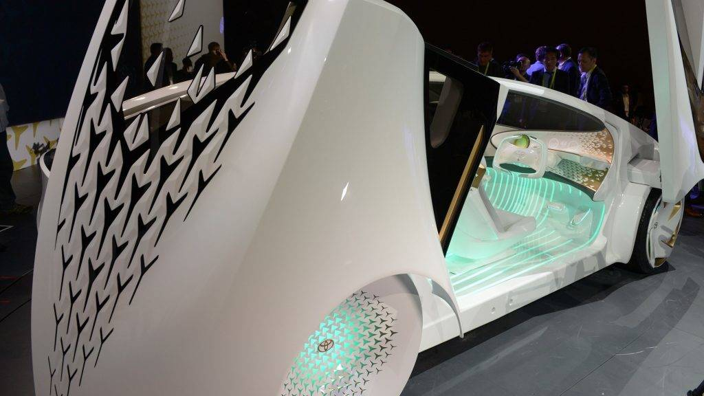 The Toyota prototype Concept-i, a self-driving car with artificial intelligence, on display at the CES Technology Expo in Las Vegas, USA, 04 January 2016. Photo: Andrej Sokolow//dpa