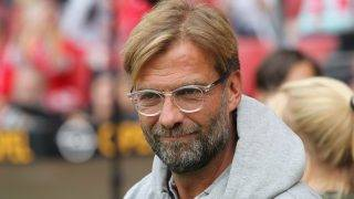 """Liverpool coach Juergen Klopp at the FSV Mainz 05 vs """"Nikolce and friends"""" football match at the Opel Arena in Mainz, Germany, 2 September 2017. Photo: Thomas Frey/dpa"""