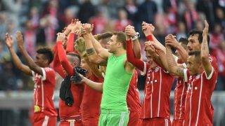 Munich players celebrate after the German Bundesliga soccer match between Bayern Munich and FSV Mainz 05 in the Allianz Arena in Munich, Germany, 16 September 2017.