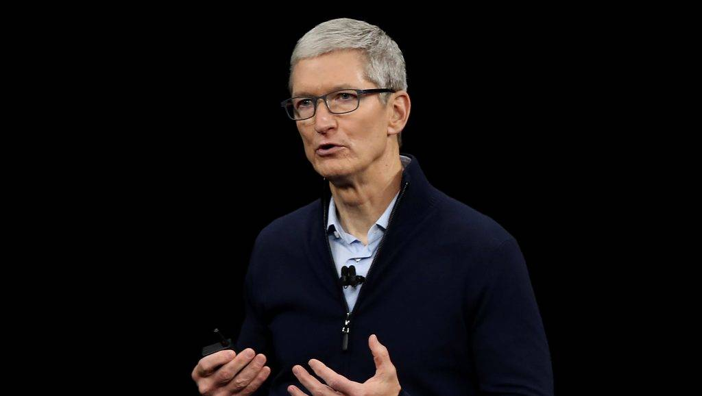CUPERTINO, CA - SEPTEMBER 12: Apple CEO Tim Cook speaks during an Apple special event at the Steve Jobs Theatre on the Apple Park campus on September 12, 2017 in Cupertino, California. Apple is holding their first special event at the new Apple Park campus where they are expected to unveil a new iPhone.   Justin Sullivan/Getty Images/AFP