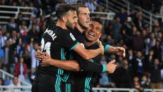 Bale of Real Madrid celebrates with teammates after scoring during the Spanish league football match between Real Sociedad and Real Madrid at the Anoeta Stadium on 17 September 2017 in San Sebastian, Spain (Photo by Jose Ignacio Unanue/NurPhoto)