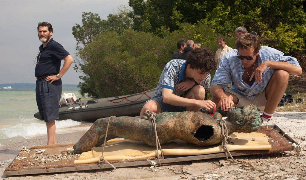 Michael Stuhlbarg, Timothée Chalamet and Armie Hammer appear in <i>Call Me by Your Name</i> by Luca Guadagnino, an official selection of the Premieres program at the 2017 Sundance Film Festival. Courtesy of Sundance Institute.