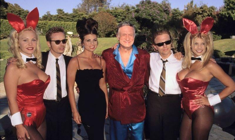 The Rembrandts, Jasmin Bleeth, Hugh Hefner & Playboy Bunnies (Photo by SGranitz/WireImage)