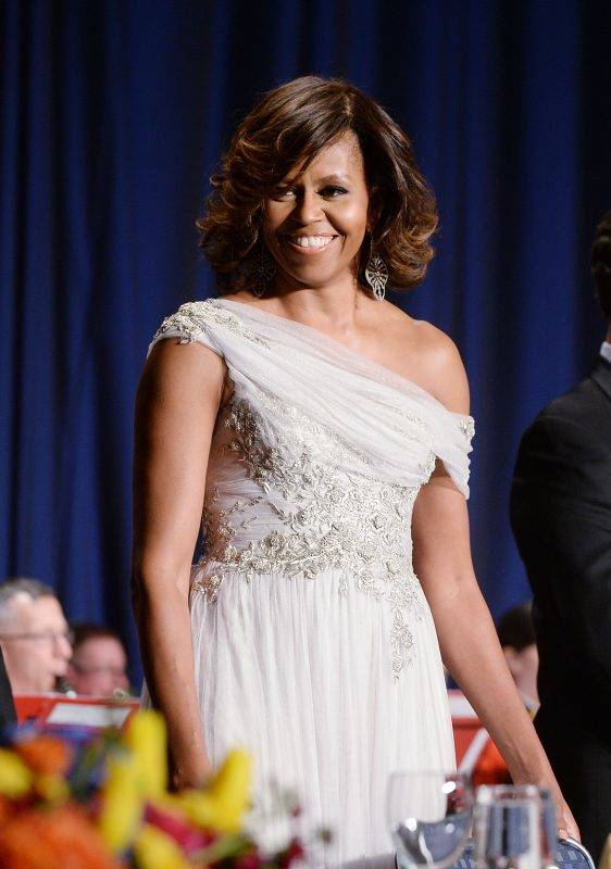 WASHINGTON, DC - MAY 3: (AFP OUT)  US First Lady Michelle Obama attends the annual White House Correspondent's Association Gala at the Washington Hilton hotel May 3, 2014 in Washington, D.C. The dinner is an annual event attended by journalists, politicians and celebrities. (Photo by Olivier Douliery-Pool/Getty Images)