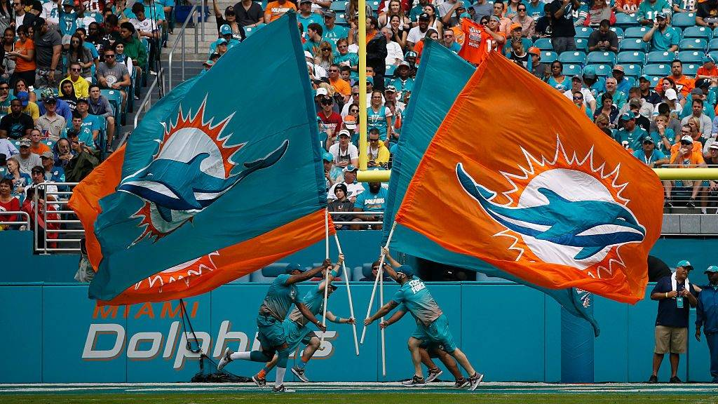 MIAMI GARDENS, FL - DECEMBER 11: The Miami Dolphins Fins Force run the team banners across the field after a touchdown against the Arizona Cardinals on December 11, 2016 at Hard Rock Stadium in Miami Gardens, Florida. Miami defeated Arizona 26-23. (Photo by Joel Auerbach/Getty Images)