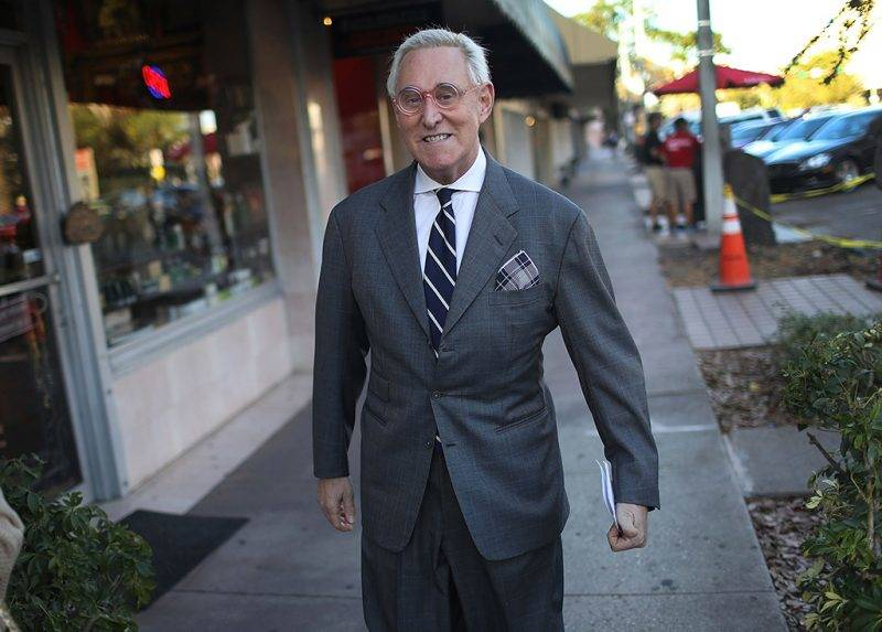 CORAL GABLES, FL - MAY 22:  Roger Stone, a longtime political adviser and friend to President Donald Trump, arrives to speak during a visit to the Women's Republican Club of Miami, Federated before signing copies of his book 'The Making of the President 2016' at the John Martin's Irish Pub & Restaurant on May 22, 2017 in Coral Gables, Florida. The book delves into the 2016 presidential run by Donald Trump.  (Photo by Joe Raedle/Getty Images)