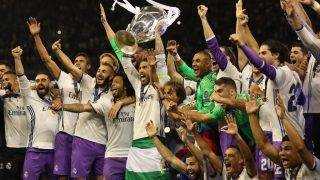 CARDIFF, WALES - JUNE 03: Sergio Ramos of Real Madrid lifts the trophy during the UEFA Champions League Final between Juventus and Real Madrid at National Stadium of Wales on June 3, 2017 in Cardiff, Wales. (Photo by Ian MacNicol/Getty Images)