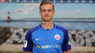 ROSTOCK, GERMANY - JULY 16:  Oliver Huesing of FC Hansa Rostock poses during the team presentation at Ostseestadion on July 16, 2017 in Rostock, Germany.  (Photo by Matthias Kern/Bongarts/Getty Images)