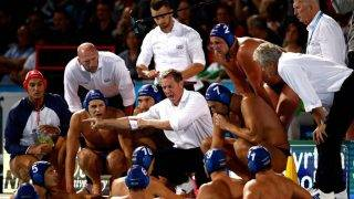 BUDAPEST, HUNGARY - JULY 27:  Coach Tamas Andras Marcz of Hungary talks with his team during the Men's Water Polo semi final between Greece and Hungary on day fourteen of the Budapest 2017 FINA World Championships on July 27, 2017 in Budapest, Hungary.  (Photo by Adam Pretty/Getty Images)