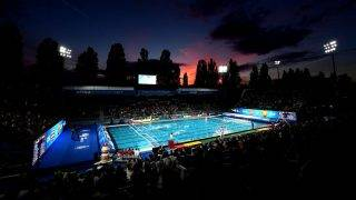 BUDAPEST, HUNGARY - JULY 28:  A general view during the Women's Water Polo gold medal match between the United States and Spain on day fifteen of the Budapest 2017 FINA World Championships on July 28, 2017 in Budapest, Hungary.  (Photo by Laurence Griffiths/Getty Images)