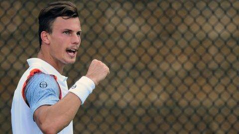 WINSTON SALEM, NC - AUGUST 21:  Marton Fucsovics of Hungary reacts after a point against Ernests Gulbis of Latvia during the third day of the Winston-Salem Open at Wake Forest University on August 21, 2017 in Winston Salem, North Carolina.  (Photo by Jared C. Tilton/Getty Images)