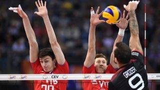 KRAKOW, POLAND - SEPTEMBER 3:  Ilyas Kurkaev, Dmitrii Volkov of Russia and Gyorgy Grozer of Germany during the Final of the European Men's Volleyball Championships 2017 match between Germany and Russia on September 3, 2017 in Krakow, Poland. (Photo by Porebski/Press Focus/MB Media/Getty Images)