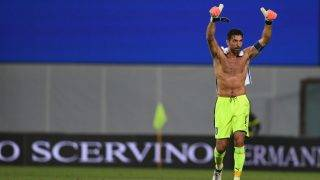 REGGIO NELL'EMILIA, ITALY - SEPTEMBER 05:  Gianluigi Buffon of Italy celebrate after winning the FIFA 2018 World Cup Qualifier between Italy and Israel at Mapei Stadium - Citta' del Tricolore on September 5, 2017 in Reggio nell'Emilia, Italy.  (Photo by Claudio Villa/Getty Images)