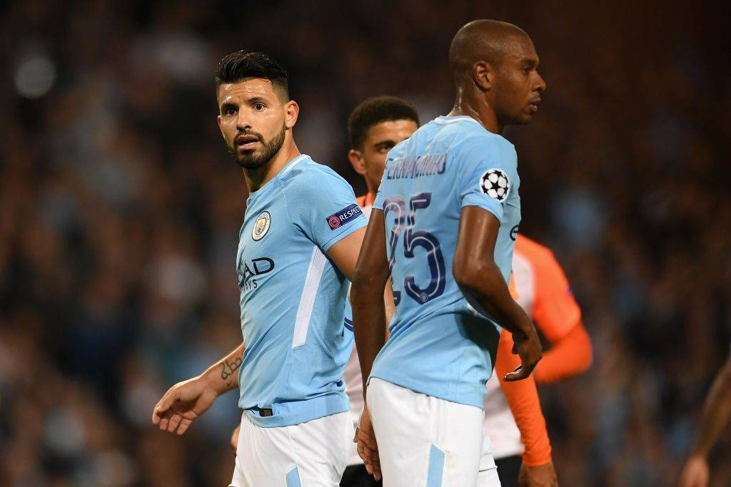 MANCHESTER, ENGLAND - SEPTEMBER 26: Sergio Aguero of Manchester City reacts to missing a penalty during the UEFA Champions League Group F match between Manchester City and Shakhtar Donetsk at Etihad Stadium on September 26, 2017 in Manchester, United Kingdom.  (Photo by Laurence Griffiths/Getty Images)