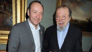 LONDON - MARCH 16:  (EMBARGOED FOR PUBLICATION IN UK TABLOID NEWSPAPERS UNTIL 48 HOURS AFTER CREATE DATE AND TIME)  Kevin Spacey (L) and Sir Peter Hall (R) attend the launch party for the opening of the new Theatre and Performance galleries at the Victoria & Albert Museum on March 16, 2009 in London, England.  (Photo by Dave M. Benett/Getty Images)