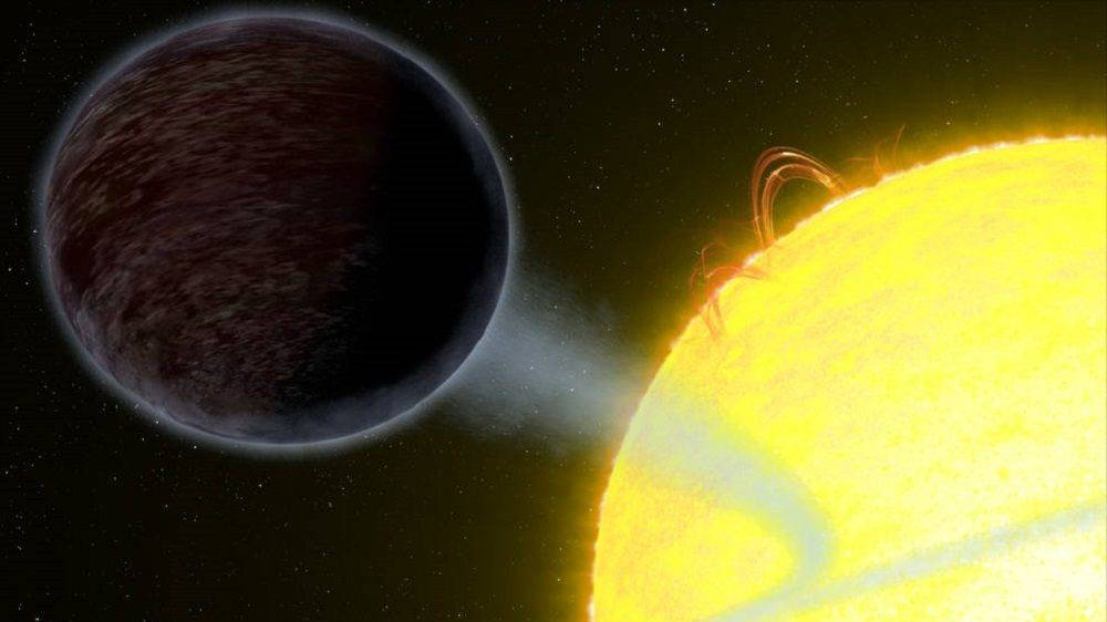 This illustration shows one of the darkest known exoplanets - an alien world as black 