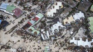 """An aerial photography taken and released by the Dutch department of Defense on September 6, 2017 shows the damage of Hurricane Irma in Philipsburg, on the Dutch Caribbean island of Sint Maarten.Hurricane Irma sowed a trail of deadly devastation through the Caribbean on Wednesday, reducing to rubble the tropical islands of Barbuda and St Martin. / AFP PHOTO / ANP / Gerben VAN ES / Netherlands OUT / RESTRICTED TO EDITORIAL USE - MANDATORY CREDIT """"AFP PHOTO / DUTCH DEFENSE MINISTRY/GERBEN VAN ES"""" - NO MARKETING NO ADVERTISING CAMPAIGNS - NO ARCHIVES - NO SALE- DISTRIBUTED AS A SERVICE TO CLIENTS"""