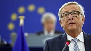 Strasbourg, 2017. szeptember 13.Jean-Claude Juncker, az Európai Bizottság elnöke évértékelő beszédet mond az Európai Parlament ülésén a strasbourgi ülésteremben 2017. szeptember 13-án. (MTI/AP/Jean-Francois Badias)