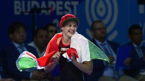 Budapest, 2017. július 30.A győztes Hosszú Katinka a női 400 méteres vegyesúszás döntője után a 17. vizes világbajnokságon a Duna Arénában 2017. július 30-án.MTI Fotó: Kovács Tamás