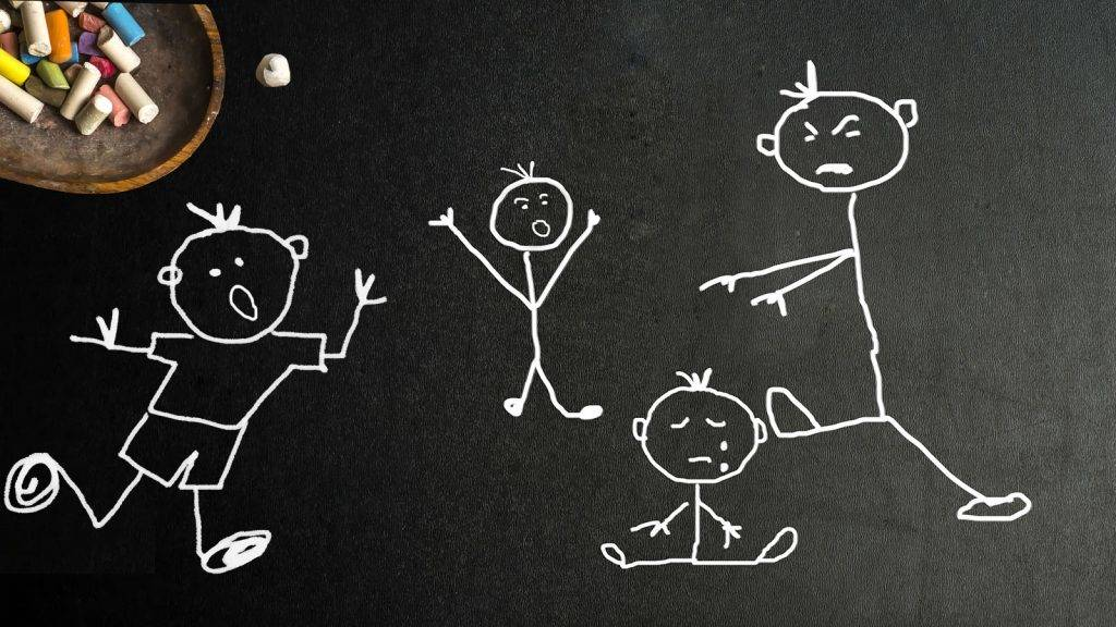 Bullying,child abuse, child hitting another, friends are running to their aid, stickman chalk drawing on blackboard with copy space.