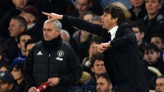 Chelsea's Italian head coach Antonio Conte (R) gestures on the touchline as Manchester United's Portuguese manager Jose Mourinho (L) looks on during the English FA Cup quarter final football match between Chelsea and Manchester United at Stamford Bridge in London on March 13, 2017. / AFP PHOTO / Glyn KIRK / RESTRICTED TO EDITORIAL USE. No use with unauthorized audio, video, data, fixture lists, club/league logos or 'live' services. Online in-match use limited to 75 images, no video emulation. No use in betting, games or single club/league/player publications.  /