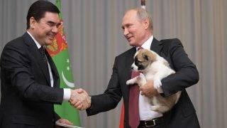 3210093 10/11/2017 October 11, 2017. President Vladimir Putin, right, meets with President and Prime Minister of Turkmenistan Gurbanguly Berdimuhamedov. Alexei Druzhinin/Sputnik