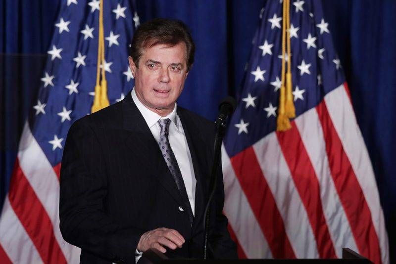 "WASHINGTON, DC - APRIL 27: Paul Manafort, advisor to Republican presidential candidate Donald Trump's campaign, checks the teleprompters before Trump's speech at the Mayflower Hotel April 27, 2016 in Washington, DC. A real estate billionaire and reality television star, Trump beat his GOP challengers by double digits in Tuesday's presidential primaries in Pennsylvania, Maryland, Deleware, Rhode Island and Connecticut. ""I consider myself the presumptive nominee, absolutely,"" Trump told supporters at the Trump Tower following yesterday's wins.   Chip Somodevilla/Getty Images/AFP"