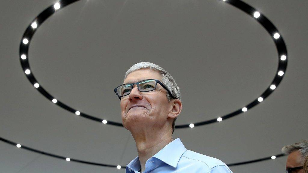 CUPERTINO, CA - SEPTEMBER 12: Apple CEO Tim Cook looks on during an Apple special event at the Steve Jobs Theatre on the Apple Park campus on September 12, 2017 in Cupertino, California. Apple held their first special event at the new Apple Park campus where they announced the new iPhone 8, iPhone X and the Apple Watch Series 3.   Justin Sullivan/Getty Images/AFP