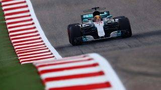 AUSTIN, TX - OCTOBER 20: Lewis Hamilton of Great Britain driving the (44) Mercedes AMG Petronas F1 Team Mercedes F1 WO8 on track during practice for the United States Formula One Grand Prix at Circuit of The Americas on October 20, 2017 in Austin, Texas.   Clive Rose/Getty Images/AFP
