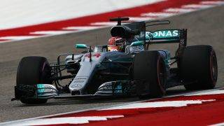 AUSTIN, TX - OCTOBER 20: Lewis Hamilton of Great Britain driving the (44) Mercedes AMG Petronas F1 Team Mercedes F1 WO8 on track during practice for the United States Formula One Grand Prix at Circuit of The Americas on October 20, 2017 in Austin, Texas.   Clive Mason/Getty Images/AFP