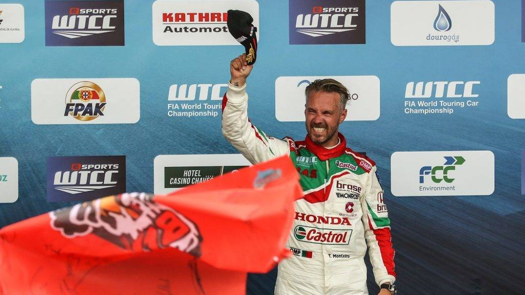 TIAGO MONTEIRO third place during Podium ceremony of the Race 2 of FIA WTCC 2017 World Touring Car Championship Race of Portugal, Vila Real, June 25, 2017. (Photo by Paulo Oliveira / DPI / NurPhoto)