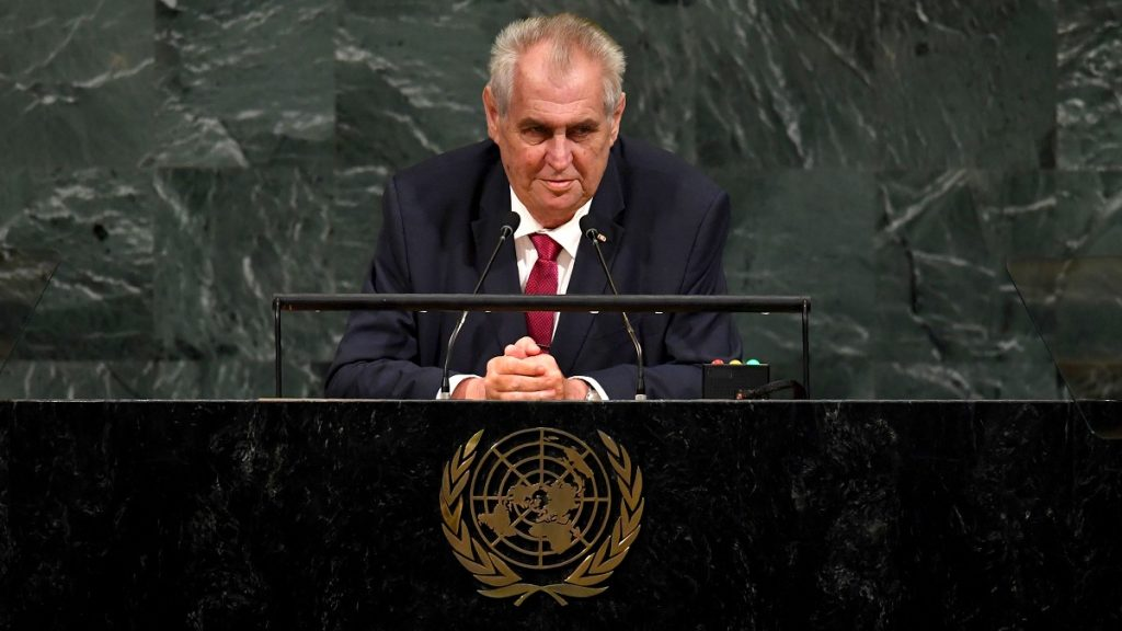 Miloš Zeman, President of the Czech Republic, addresses the 72nd session of the General Assembly at the United Nations in New York September 19, 2017. / AFP PHOTO / TIMOTHY A. CLARY