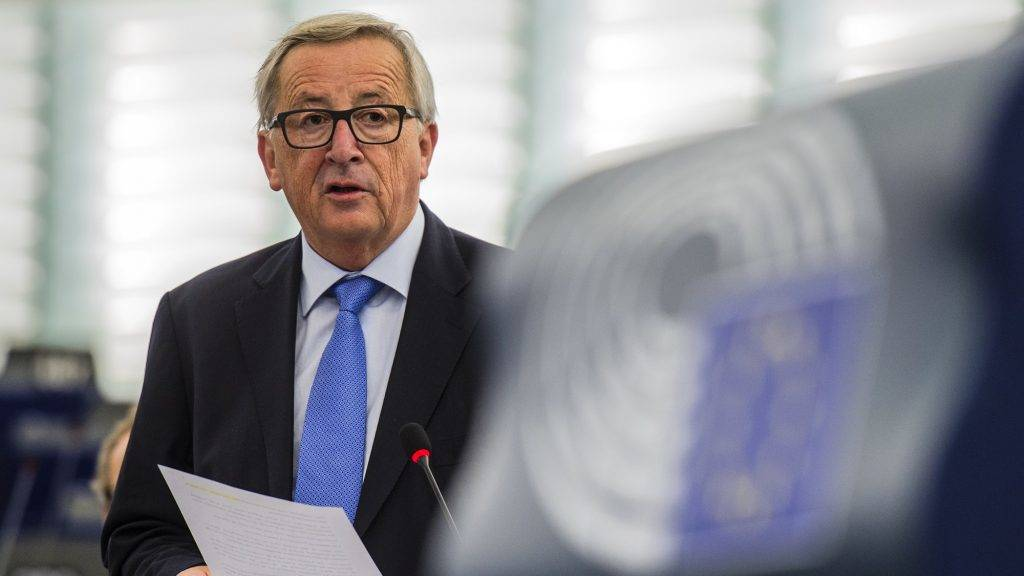 European Commission President Jean-Claude Juncker delivers a speech during a debate on the progress of the Brexit talks at the European Parliament in Strasbourg, eastern France, October 3, 2017.  EU leaders are set to decide at a summit starting on October 19 whether enough has been agreed on the divorce to start discussing the future relationship including a trade deal, as Britain has demanded. But the European Parliament, which will have a final veto on any deal for Britain's departure from the bloc in March 2019, will vote on October 3 on a resolution calling on EU leaders to postpone the decision.  / AFP PHOTO / PATRICK HERTZOG
