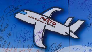 MALAYSIA, Kuala Lumpur: A drawing of a plane is pictured during a rally held in memory of MH370 missing flights victims after almost 2 years on search (on March 8, 2014) at The Square, Publika in Kuala Lumpur on March 6, 2016. - CITIZENSIDE/Aizat Ady Ikram Abdull Ropha