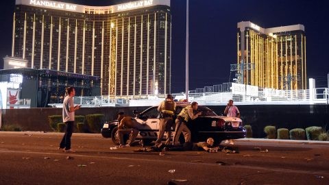 LAS VEGAS, NV - OCTOBER 01: Las Vegas police stand guard along the streets outside the festival grounds of the Route 91 Harvest on October 1, 2017 in Las Vegas, Nevada. There are reports of an active shooter around the Mandalay Bay Resort and Casino.   David Becker/Getty Images/AFP