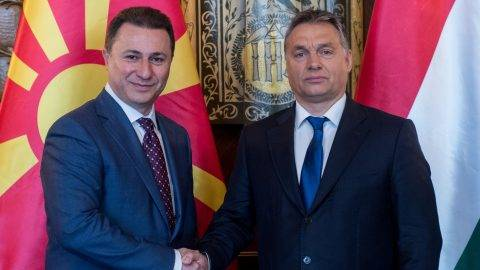 BUDAPEST, HUNGARY - NOVEMBER 20 :  Prime Minister of Macedonia Nikola Gruevski (L) and Prime Minister of Hungary Viktor Orban (R) attend a meeting in Budapest, Hungary on November 20, 2015. Hungarian Prime Ministry Press Office / Anadolu Agency