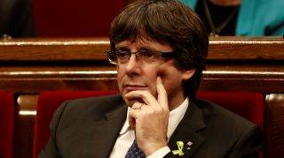 BARCELONA, SPAIN - OCTOBER 27: Catalan regional President Carles Puigdemont attends a plenary session after Catalonian Parliament declared unilateral independence following the secret ballot at Catalonian Parliament in Barcelona, Spain on October 27, 2017. Burak Akbulut / Anadolu Agency