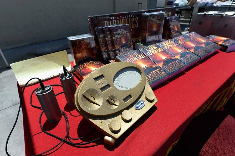 LOS ANGELES, CA - JUNE 05:  The Scientology E-Meter and cans are show along with books by L. Ron Hubbard, founder of Chruch of Scientology, at the Church of Scientology community center in the neighborhood of South Los Angeles on June 5, 2013 in Los Angeles, California.  (Photo by Kevork Djansezian/Getty Images)