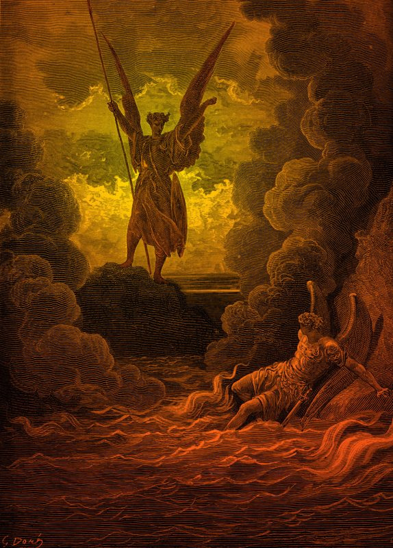 Paradise Lost, by John Milton: Satan and Beelzebub, having fallen from heaven,are  in an abyss of raging fire. Satan rears 'from off the pool His mighty stature; on each hand the flames Driven backward, slope their pointing spires,' ( Book 1, lines 221 -223), Beelzebub is caught still in the fire and waves. Drawn by Gustave Dor?, French artist, b January 6, 1832 – January 23, 1883. Engraved by C Laplante.  (Photo by Culture Club/Getty Images) *** Local Caption ***