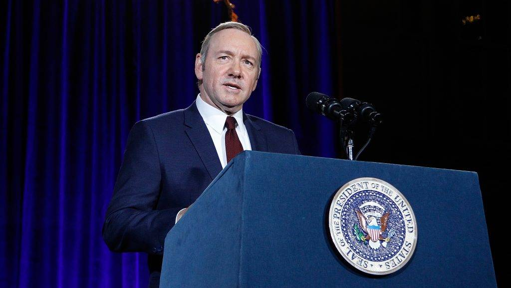 "WASHINGTON, DC - FEBRUARY 22:  Kevin Spacey speaks on stage at the portrait unveiling and season 4 premiere of Netflix's ""House Of Cards"" at the National Portrait Gallery on February 22, 2016 in Washington, DC.  (Photo by Paul Morigi/Getty Images For Netflix)"