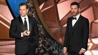 LOS ANGELES, CA - SEPTEMBER 18:  Actor Matt Damon (L) and host Jimmy Kimmel speak onstage during the 68th Annual Primetime Emmy Awards at Microsoft Theater on September 18, 2016 in Los Angeles, California.  (Photo by Lester Cohen/WireImage)