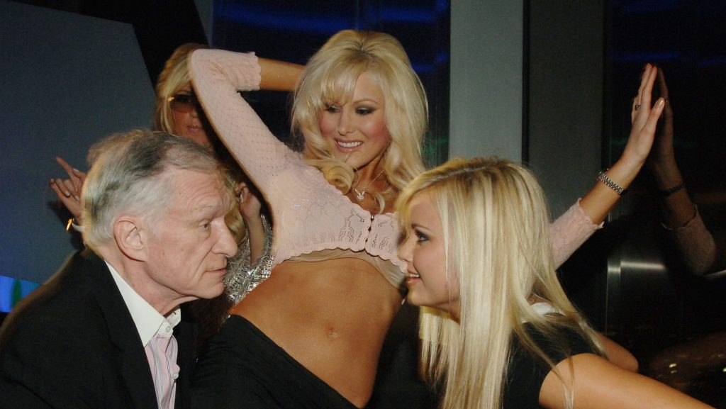 (NO TABLOIDS)  Hugh Hefner, Cristal Camden and Kara Monaco during Hugh Hefner Kicks Off His 81st Birthday Celebration Weekend Hosted By The Girls Next Door at The Playboy Club and Moon Nightclub at The Palms Hotel and Casino Resort at The Playboy Club & M
