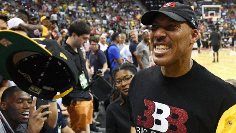 LAS VEGAS, NV - JULY 07:  LaVar Ball, father of Lonzo Ball #2 of the Los Angeles Lakers, jokes with fans at halftime of a 2017 Summer League game between the Lakers and the Los Angeles Clippers at the Thomas & Mack Center on July 7, 2017 in Las Vegas, Nevada. The Clippers won 96-93 in overtime. NOTE TO USER: User expressly acknowledges and agrees that, by downloading and or using this photograph, User is consenting to the terms and conditions of the Getty Images License Agreement.  (Photo by Ethan Miller/Getty Images)