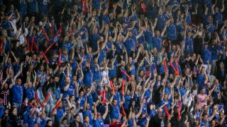 ROTTERDAM, NETHERLANDS - JULY 26: Fans of Island during the Group C match between Iceland and Austria during the UEFA Women's Euro 2017 at Sparta Stadion on July 26, 2017 in Rotterdam, Netherlands. (Photo by Maja Hitij/Getty Images)
