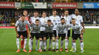 BELFAST, NORTHERN IRELAND - OCTOBER 05: The Germany starting XI pose for a team photograph before the FIFA 2018 World Cup Qualifier between Northern Ireland and Germany at Windsor Park on October 5, 2017 in Belfast, Northern Ireland. (Photo by Charles McQuillan/Getty Images)