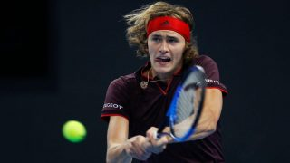 BEIJING, CHINA - OCTOBER 06:  Alexander Zverev of returns a shot against Andrey Rublev of Russia during the Men's singles Quarterfinals on day seven of 2017 China Open at the China National Tennis Centre on October 6, 2017 in Beijing, China.  (Photo by XIN LI/Getty Images)