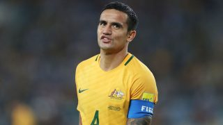 SYDNEY, AUSTRALIA - OCTOBER 10:  Tim Cahill of Australia reacts after a missed chance during the 2018 FIFA World Cup Asian Playoff match between the Australian Socceroos and Syria at ANZ Stadium on October 10, 2017 in Sydney, Australia.  (Photo by Mark Metcalfe/Getty Images)