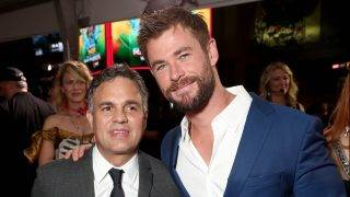 """LOS ANGELES, CA - OCTOBER 10:  Mark Ruffalo and Chris Hemsworth attend the premiere of Disney And Marvel's """"Thor: Ragnarok"""" on October 10, 2017 in Los Angeles, California.  (Photo by Todd Williamson/Getty Images)"""