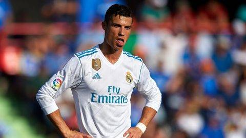 GETAFE, SPAIN - OCTOBER 14:  Cristiano Ronaldo of Real Madrid reacts during the La Liga match between Getafe and Real Madrid at Estadio Coliseum Alfonso Perez on October 14, 2017 in Getafe, Spain.  (Photo by fotopress/Getty Images)